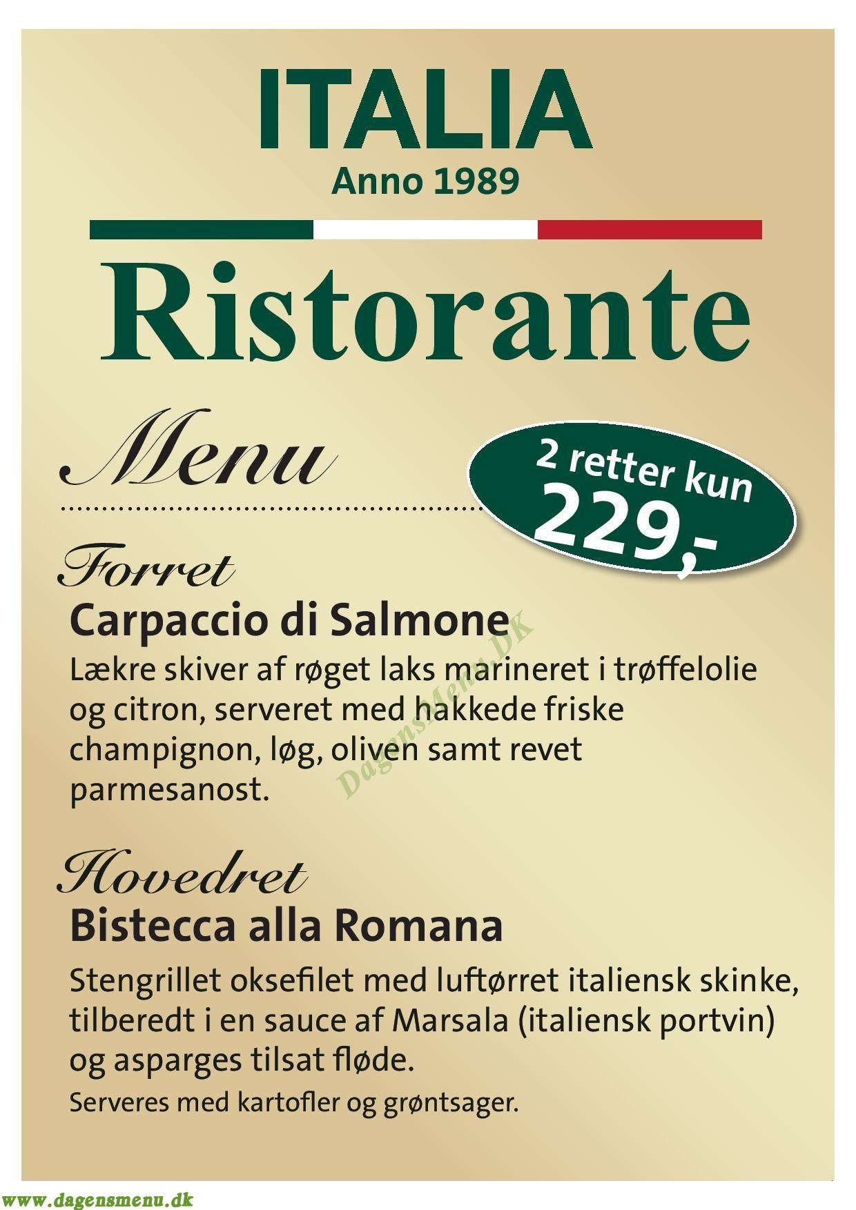 Ristorante Italia - Menukort