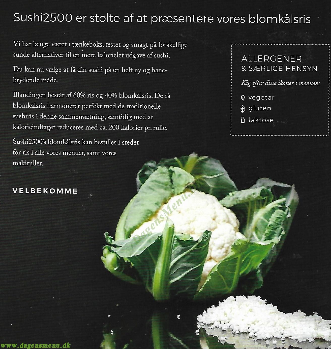 Sushi2500 Take Away - Menukort