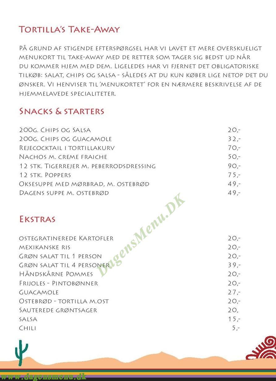 Tortilla Flats - Menukort