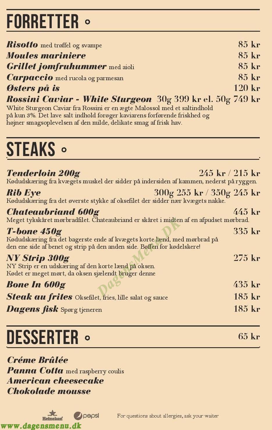 XO Burger and Steaks Axeltorv - Menukort