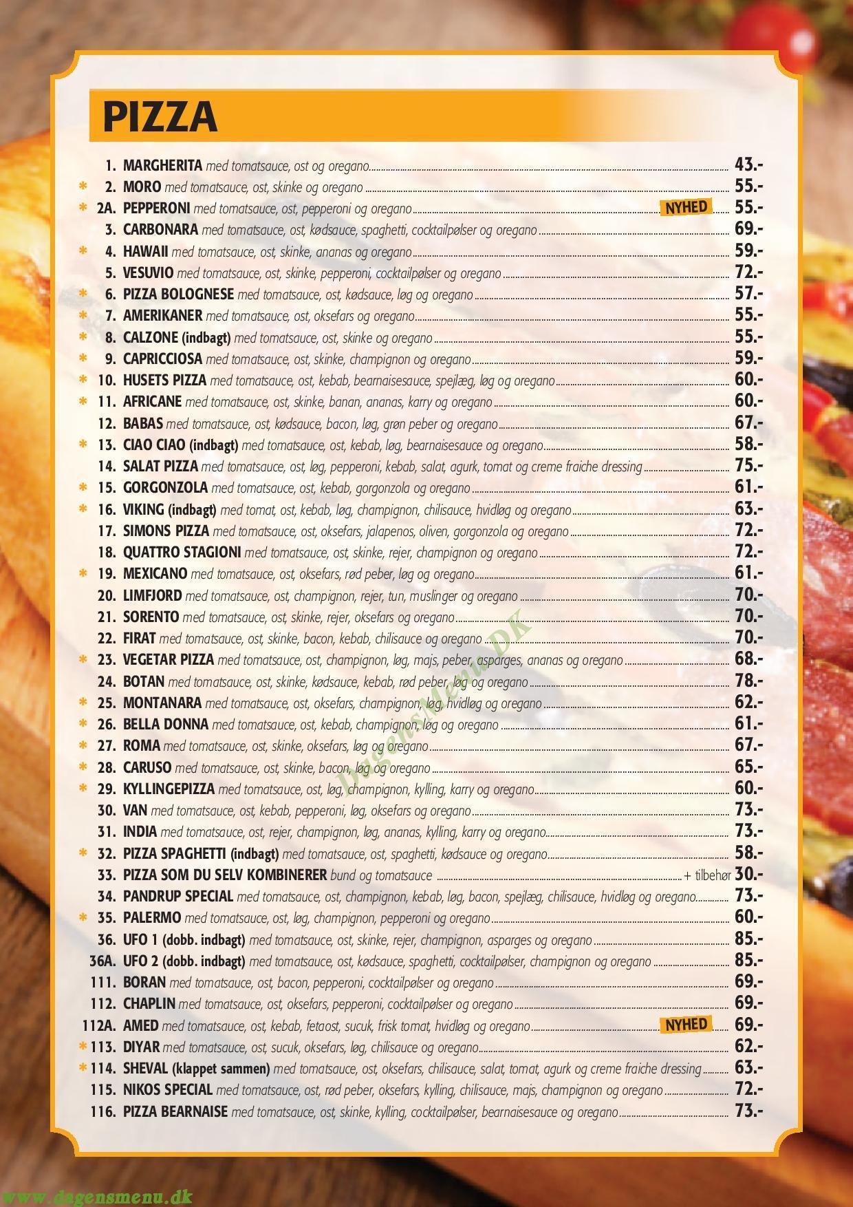 sason pizza brønderslev menukort