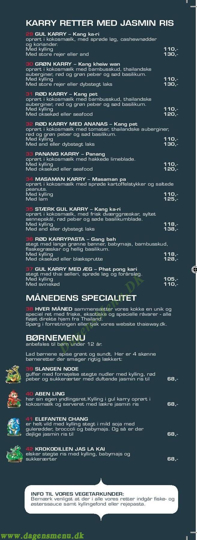 Thaiaway Frederiksberg - Menukort