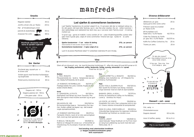 Manfreds - Menukort