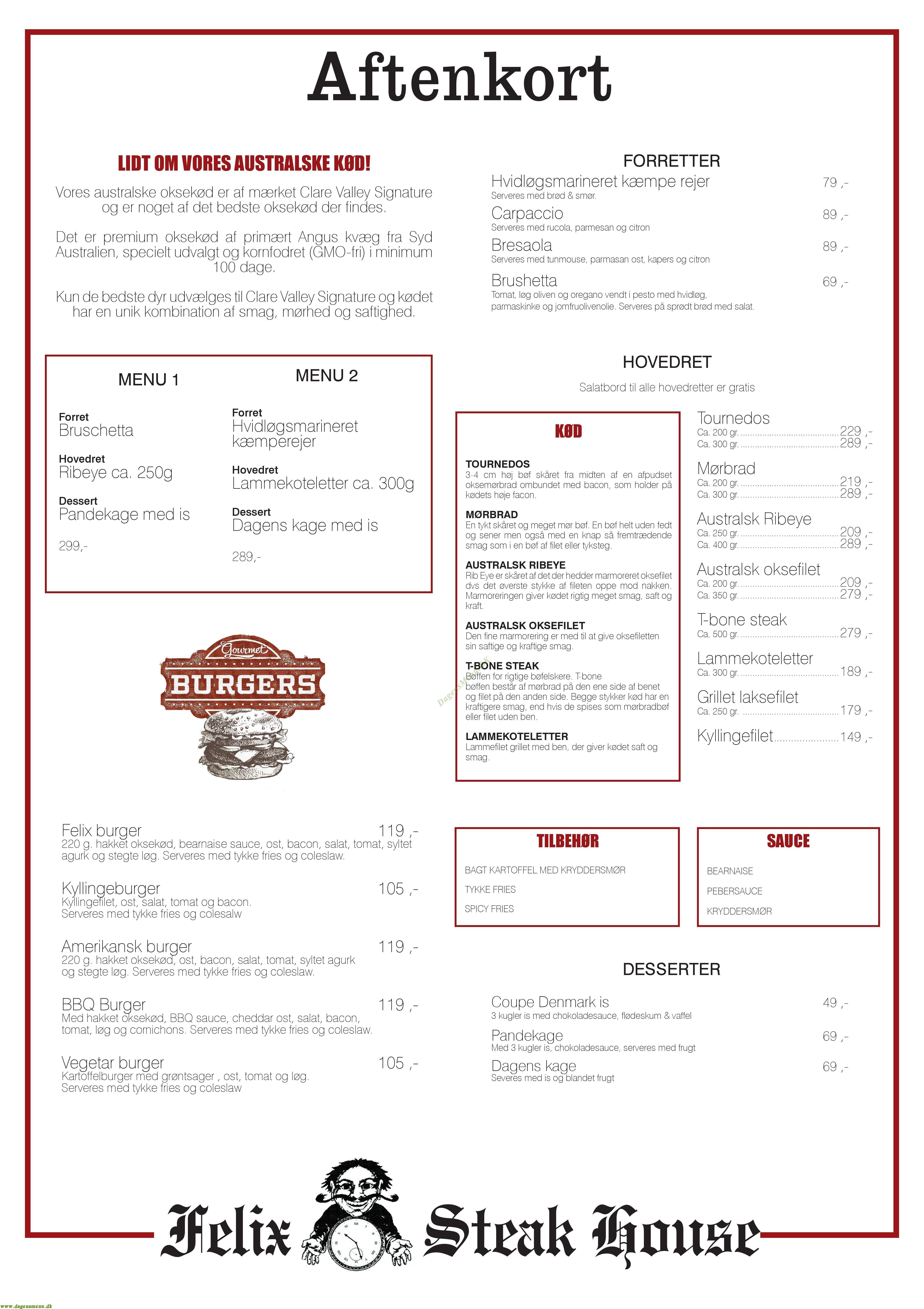 Felix Steak House - Menukort