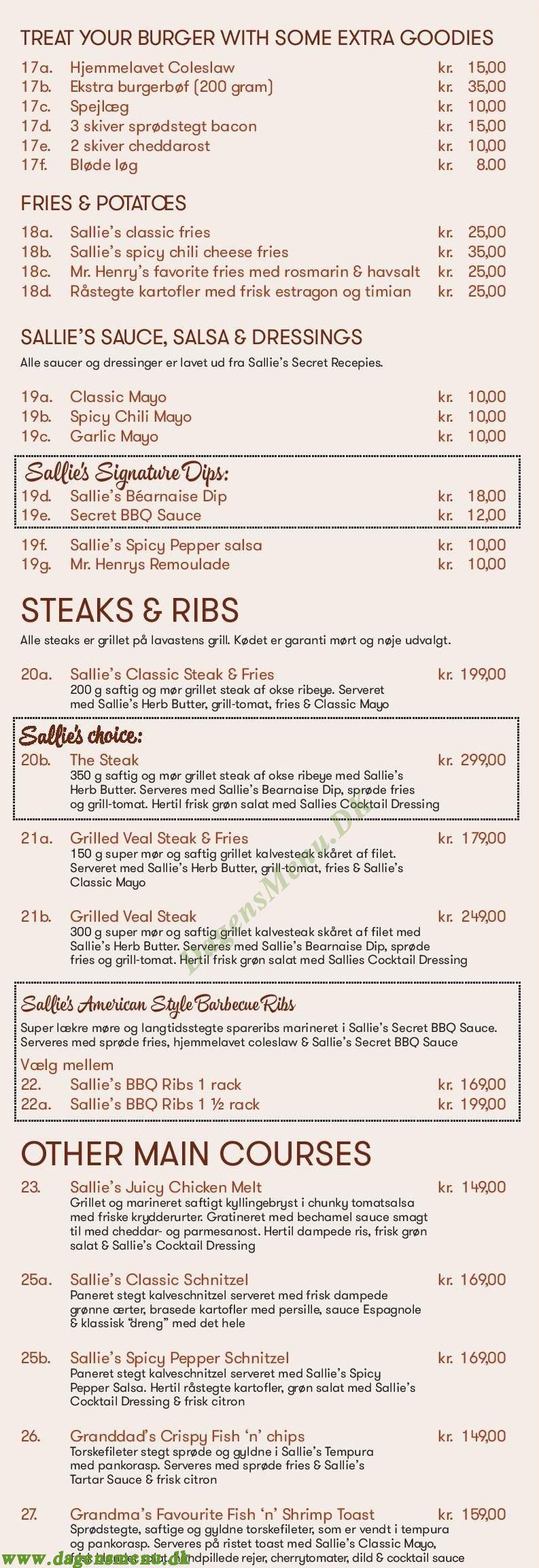 Sallie's Restaurant - Menukort