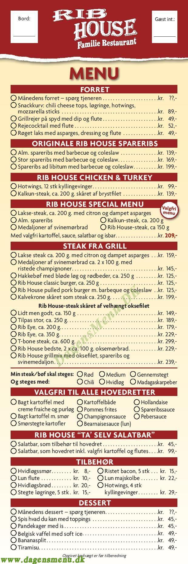 Restaurant Rib House - Menukort