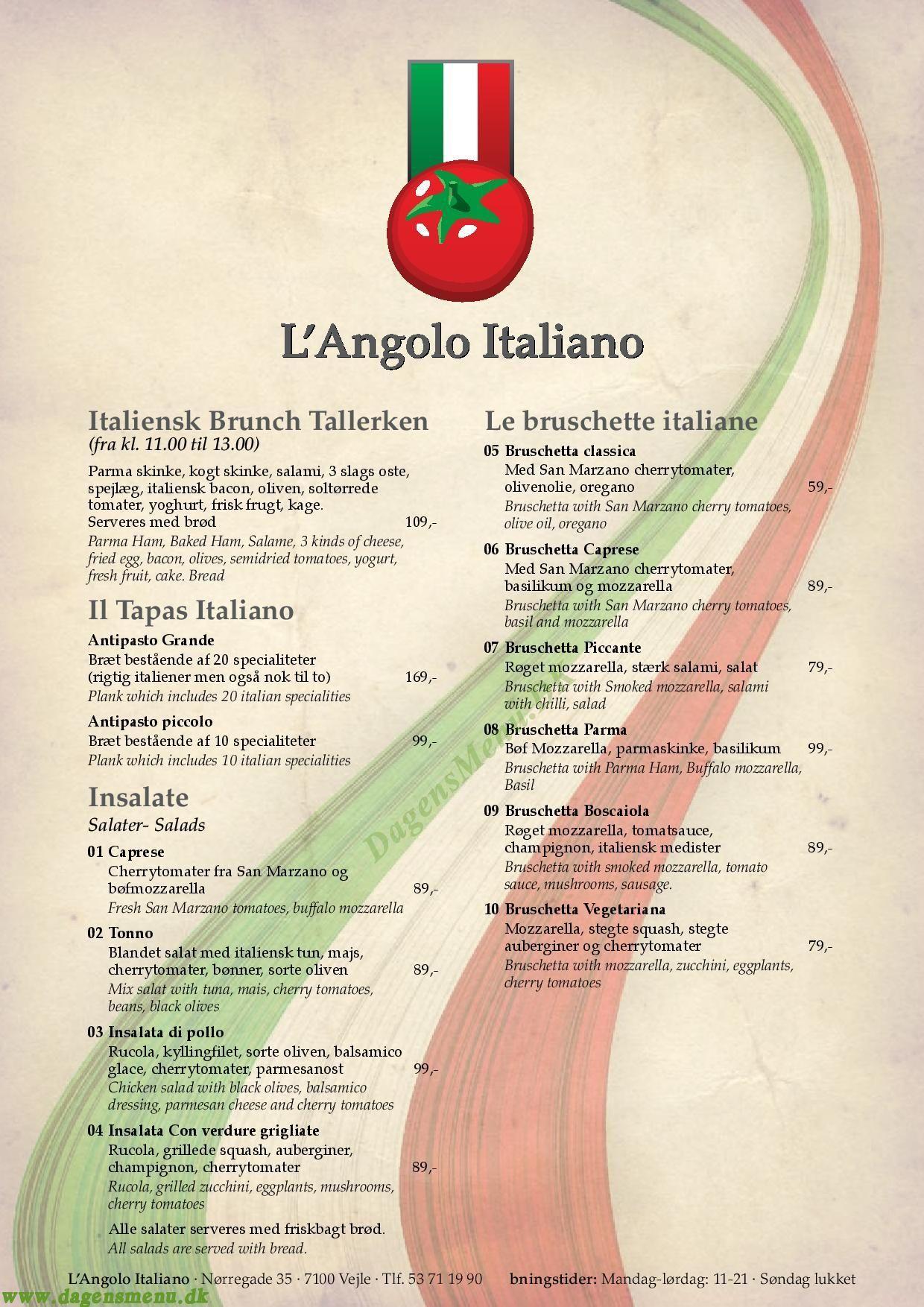 L'Angolo Italiano - Menukort