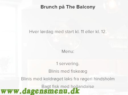 The Balcony Gourmet Restaurant - Menukort