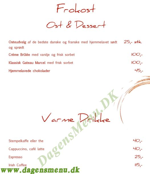 Restaurant Rusk - Menukort