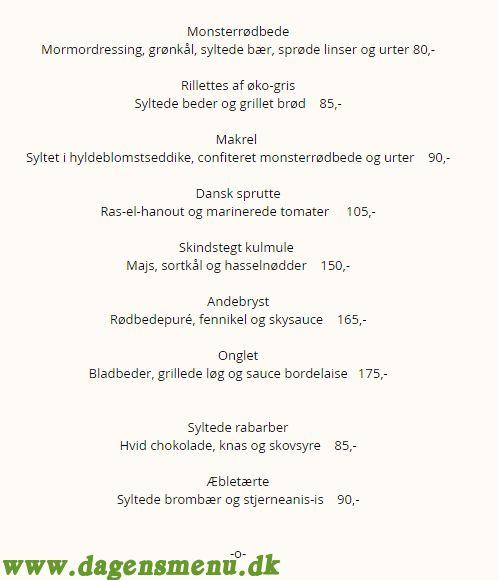 Restaurant Metier - Menukort