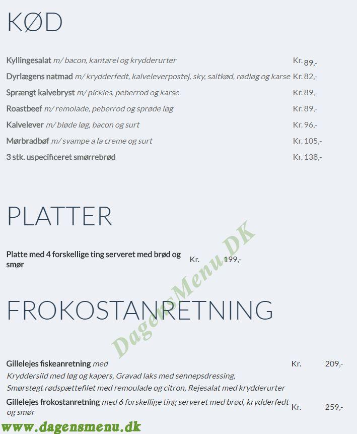 Restaurant Gilleleje i Nyhavn - Menukort