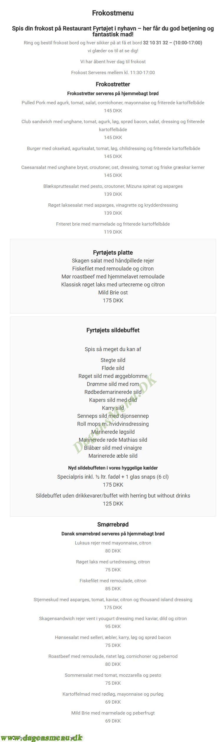 Restaurant Fyrtøjet - Menukort