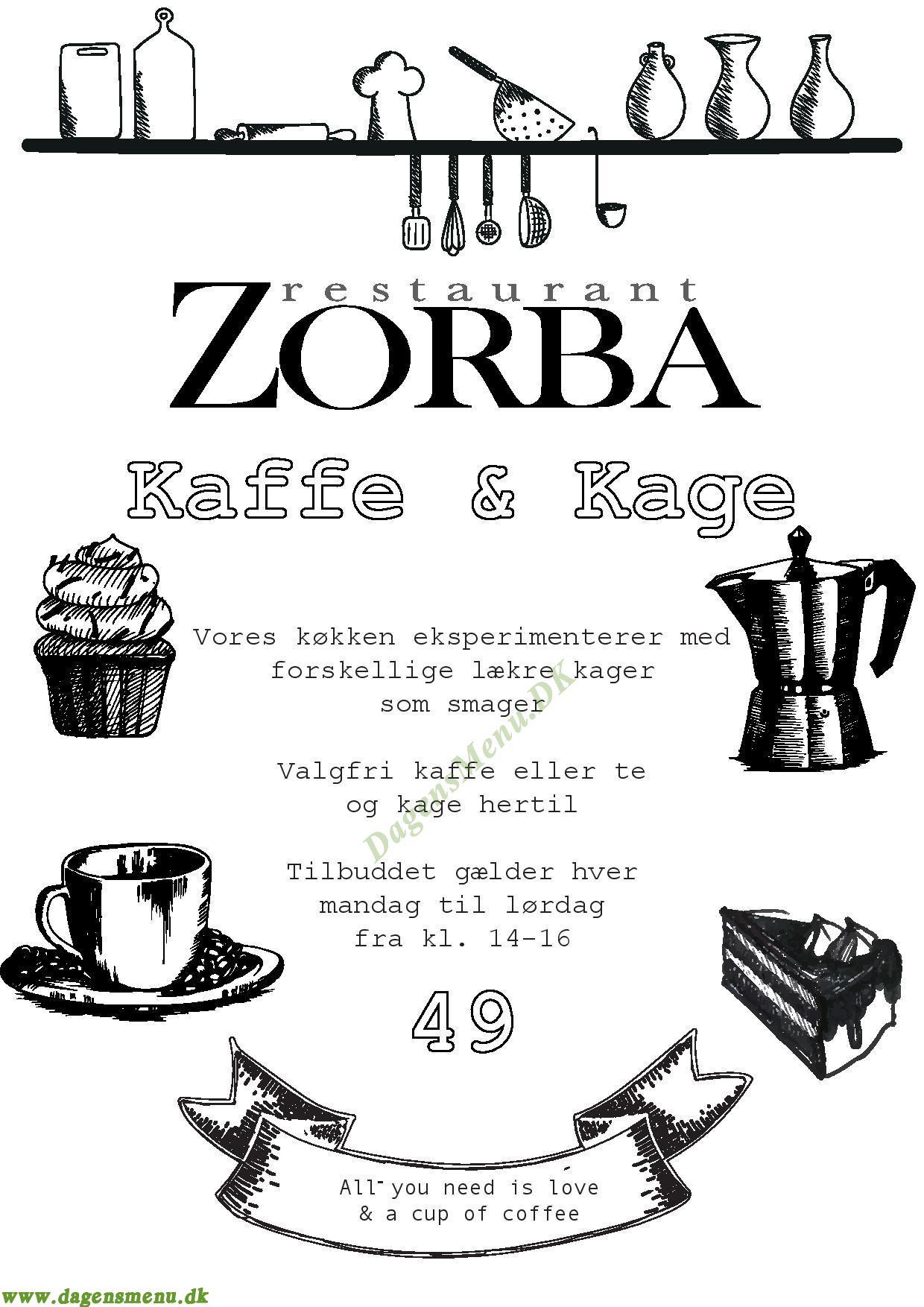 Restaurant Zorbra - Menukort