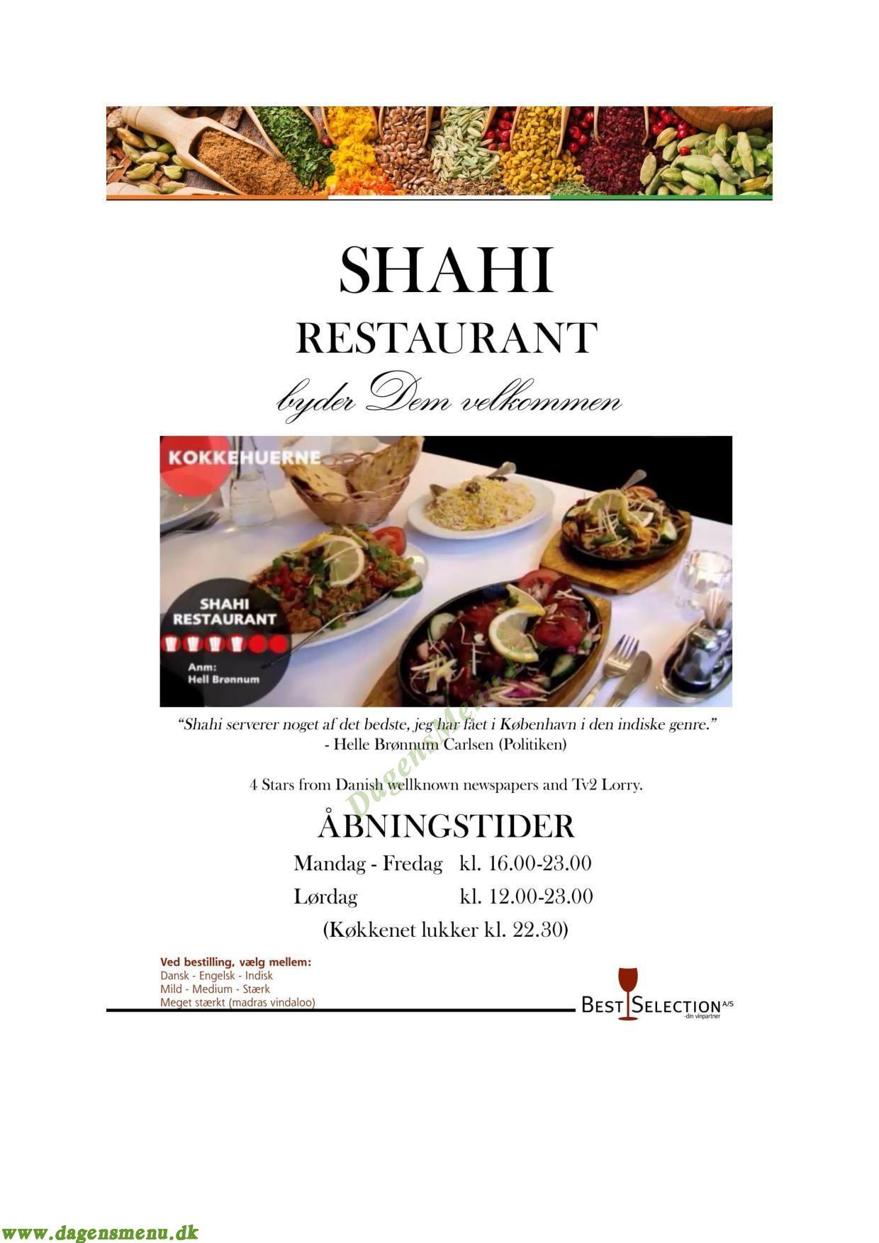 Shahi Indisk restaurant - Menukort