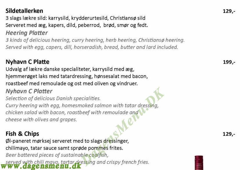 Restaurant NyhavnC - Menukort