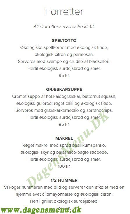 Restaurant Cap Horn - Menukort