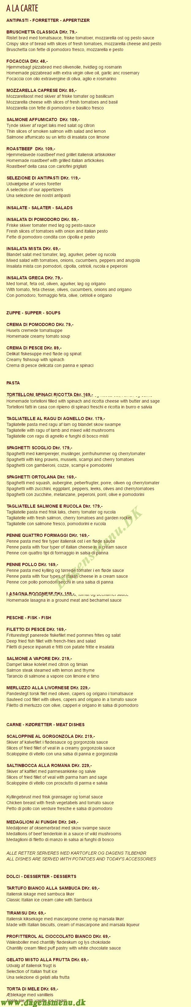 Restaurant Venezia - Menukort