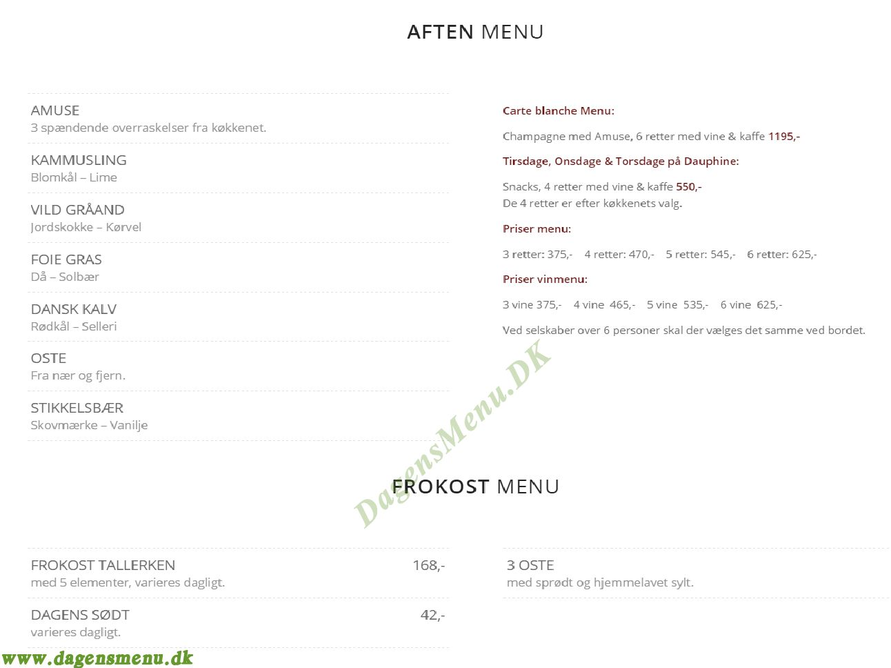 Restaurant Dauphine - Menukort
