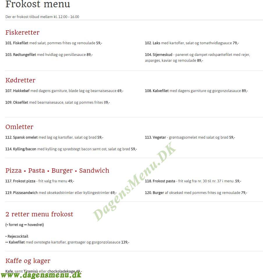 Restaurant Avanti - Menukort