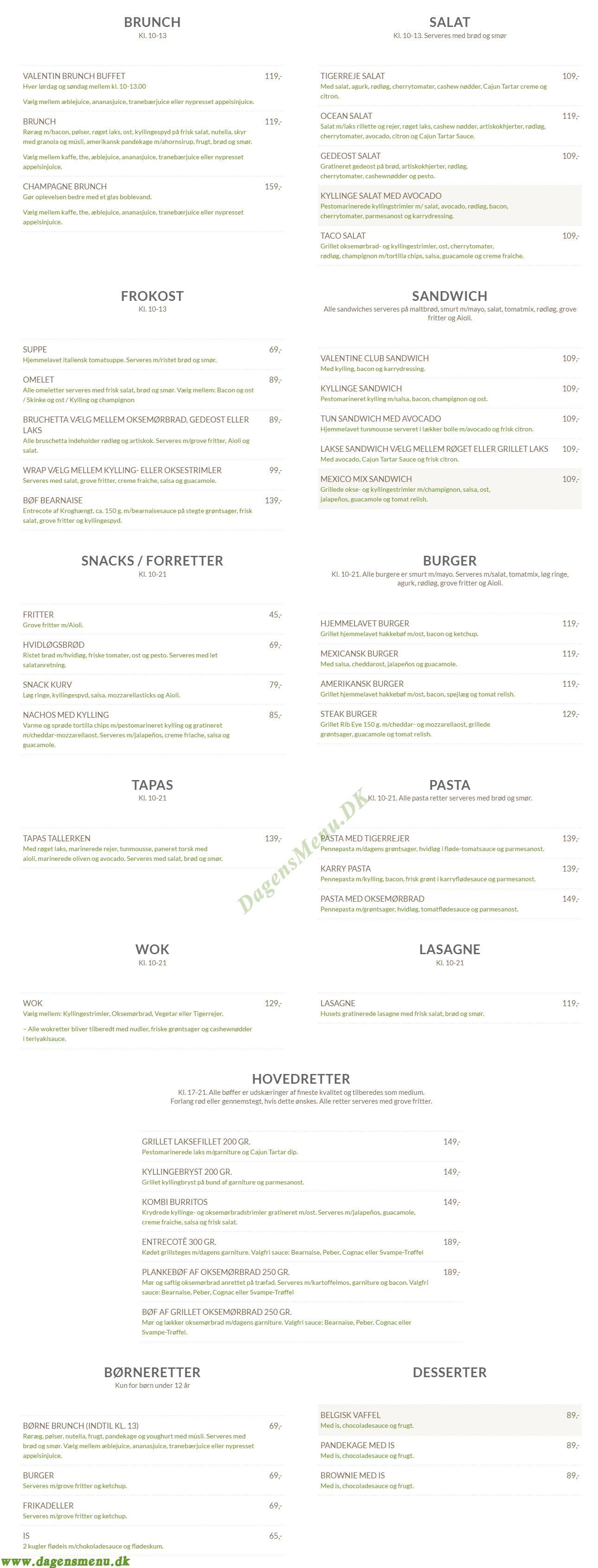 cafe valentin hillerød menukort
