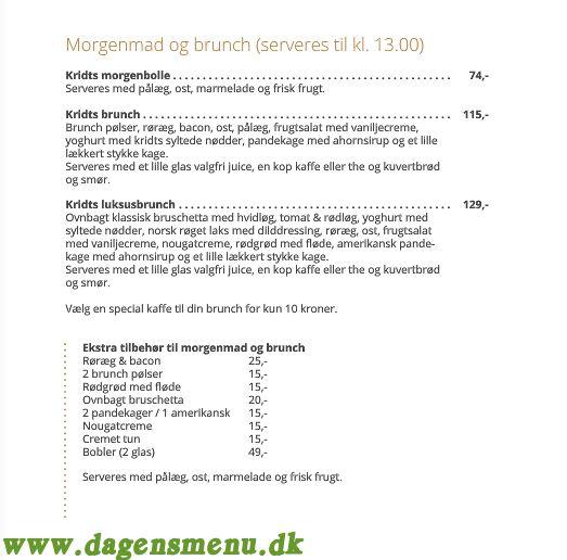 Aabenraa Cafe Kridt Menukort