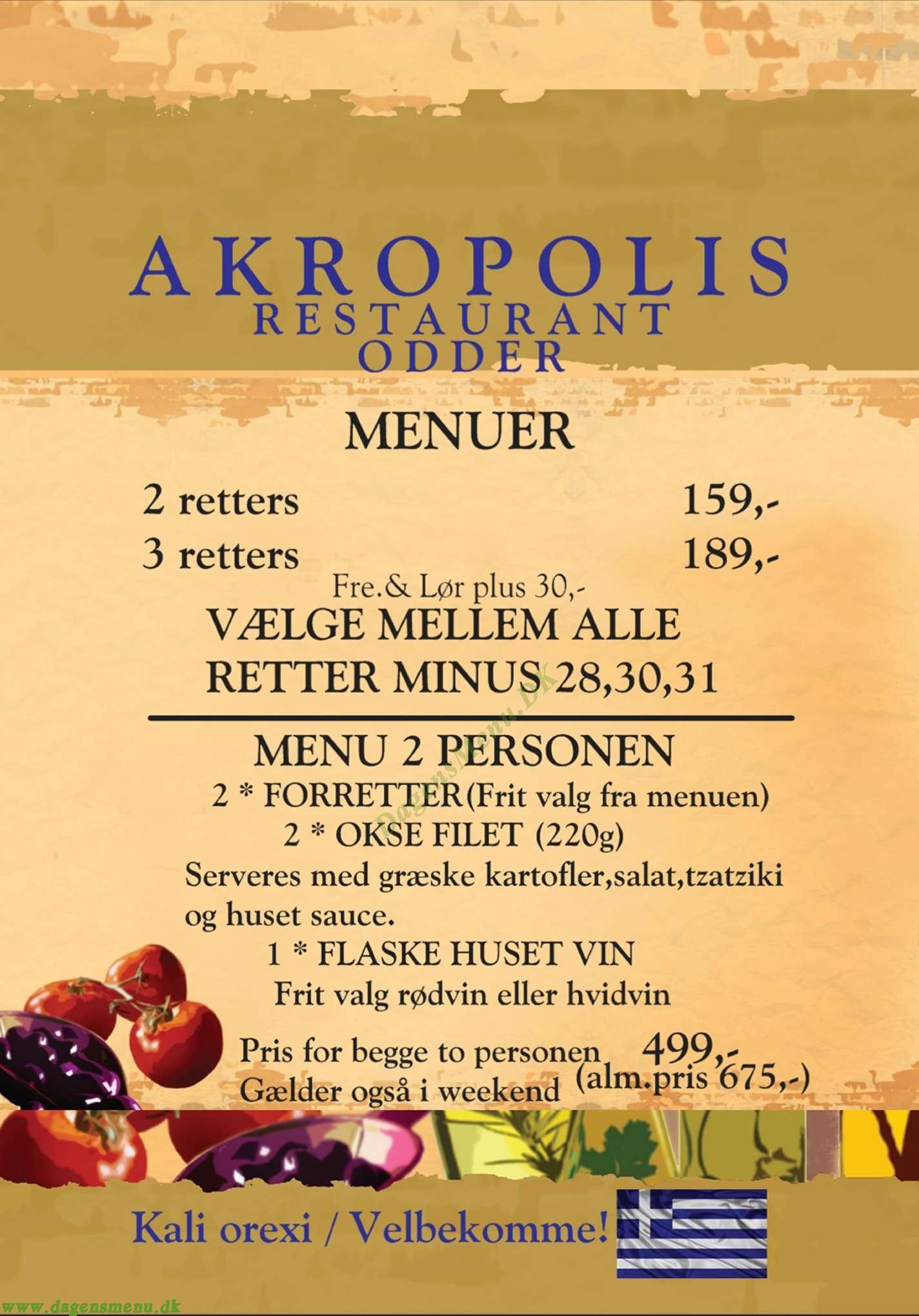 Akropolis - Græsk Restaurant Menukort