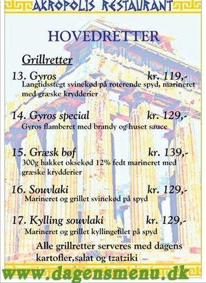 Akropolis Græsk Restaurant - Menukort