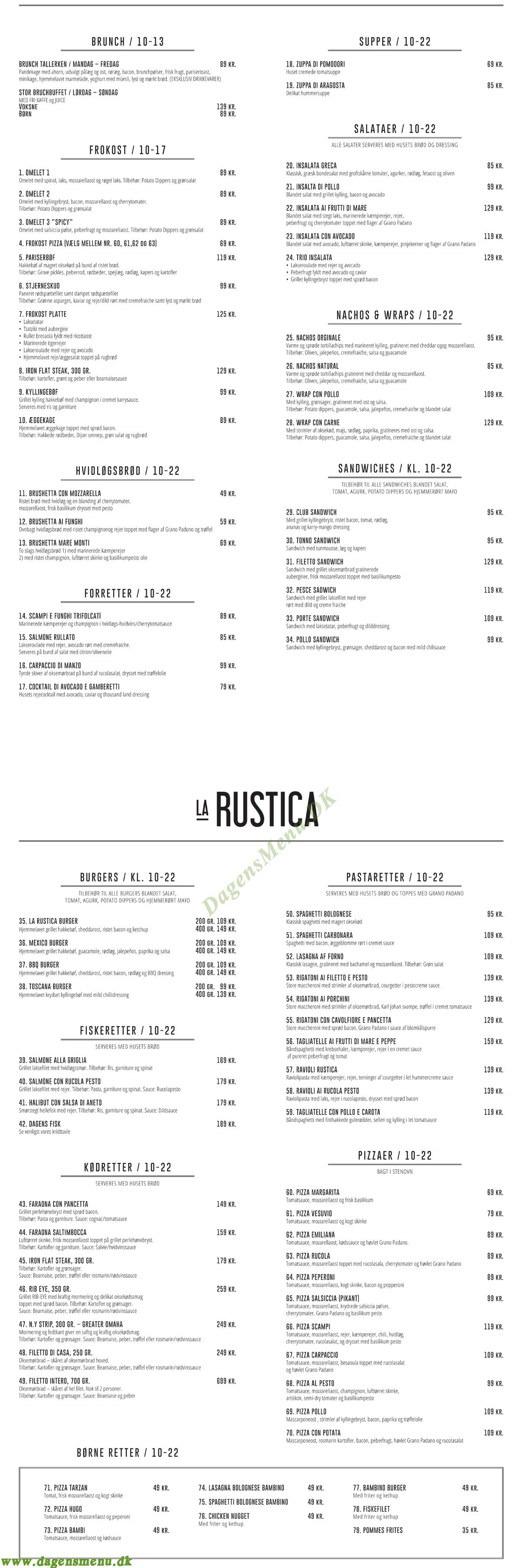 Restaurant La Rustica - Menukort