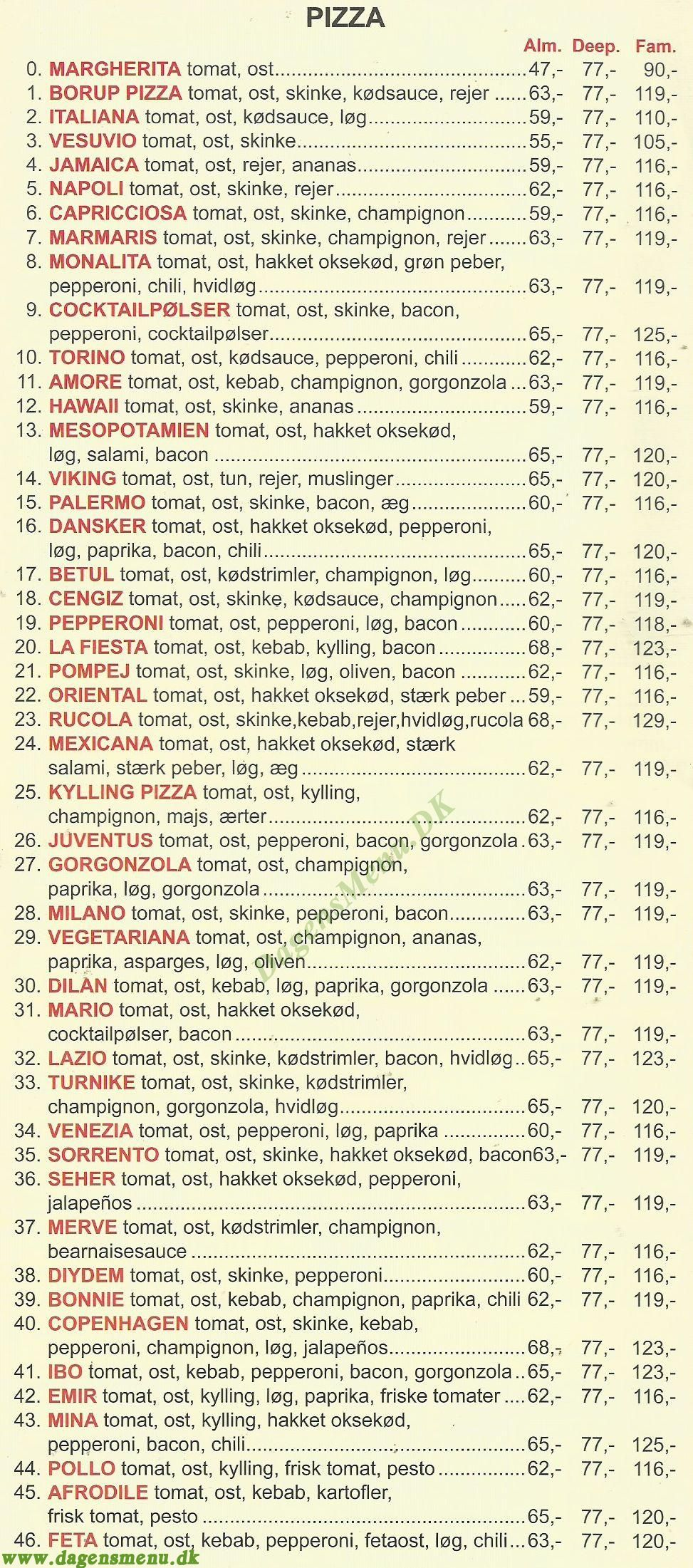 Borup Restaurant & Pizza - Menukort