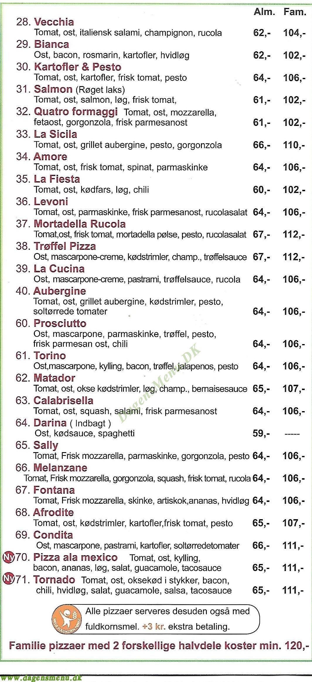 Pronto Pizza Stefansgade - Menukort