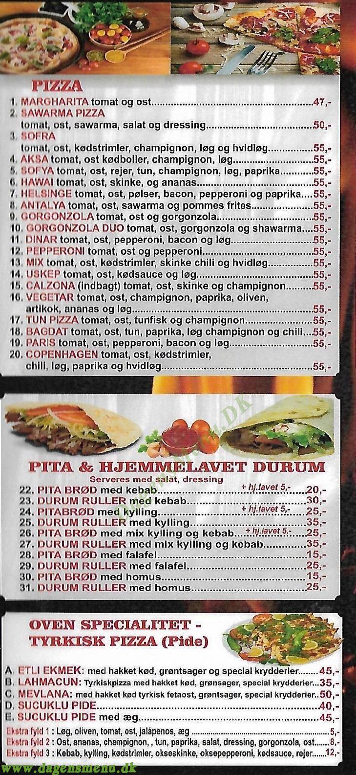 Sofra pizza kebab - Menukort