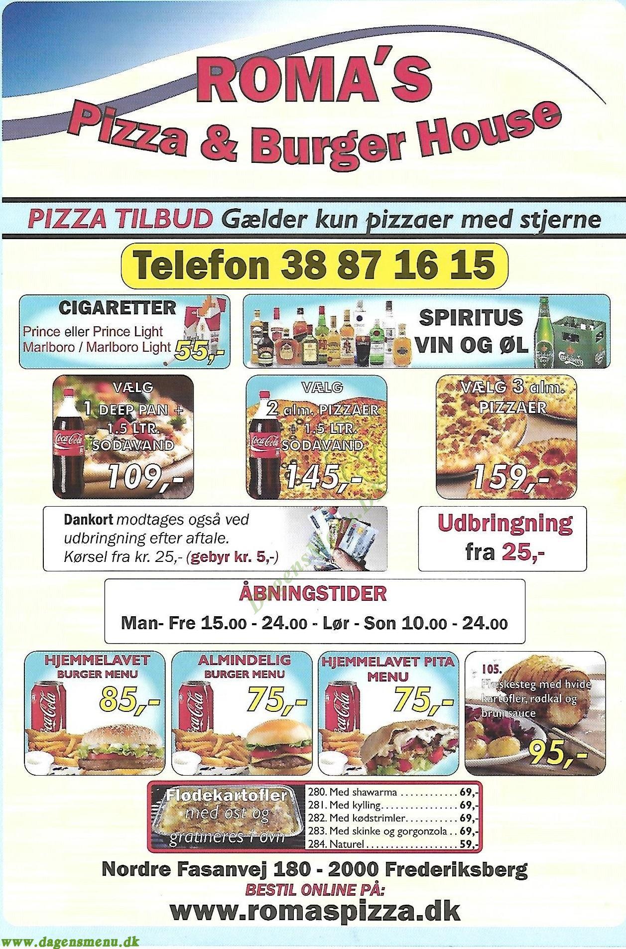 Roma´s Pizza & Burger - Menukort