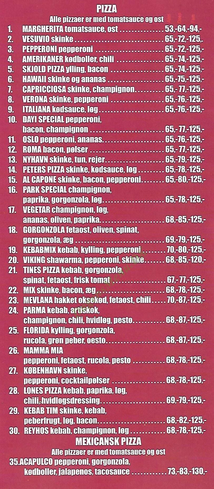 Roma's Pizzaria & Burger House - Menukort