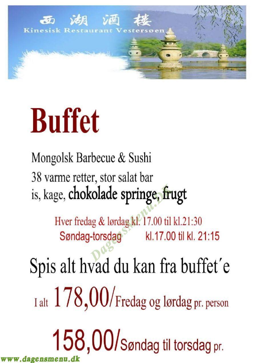 Vestersøen Kinesisk Restaurant - Menukort