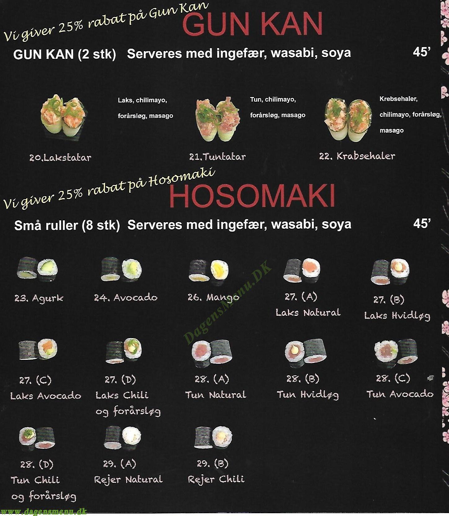 SushiLin sushi, takeaway - Menukort