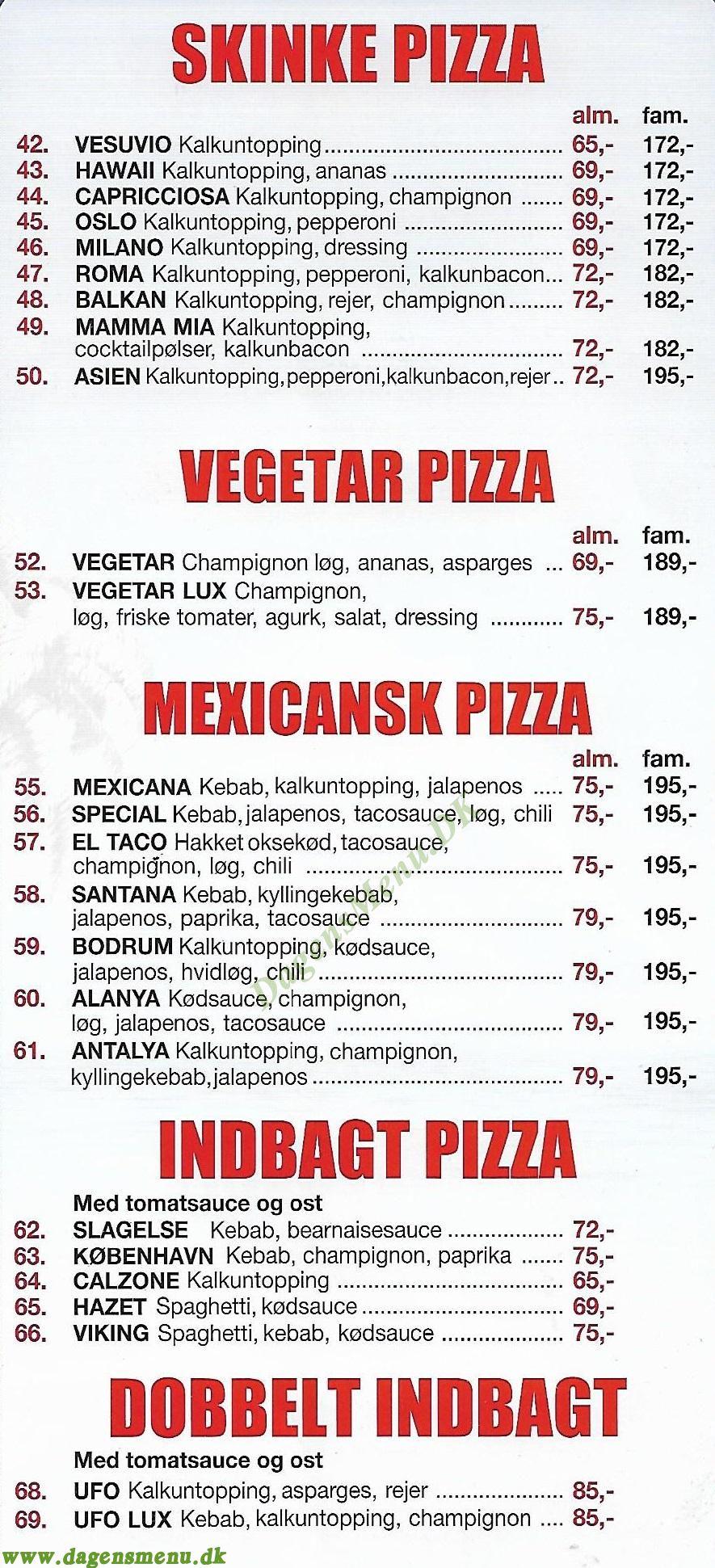 Paradiso Kebab - Menukort