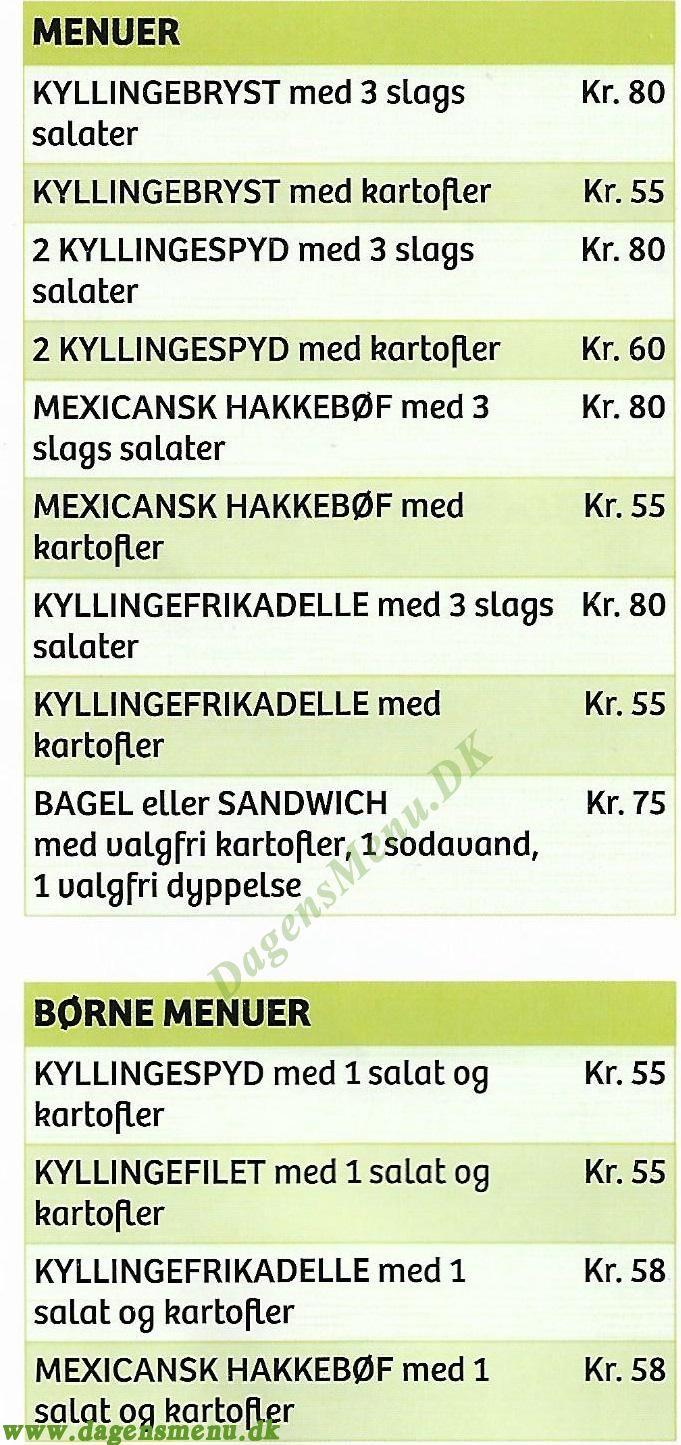 Holbæk Green corner - Menukort