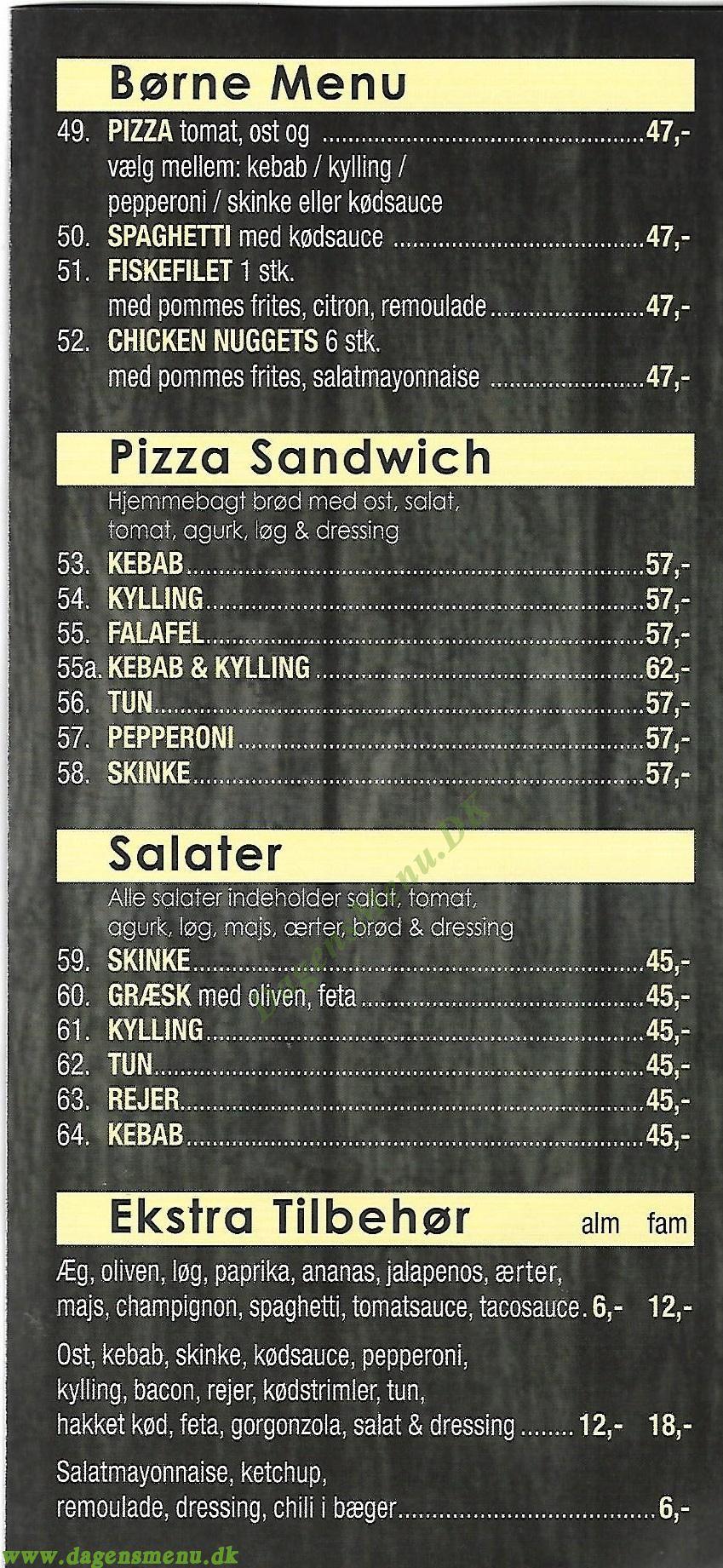 Herlev Kebab og Pizza - Menukort
