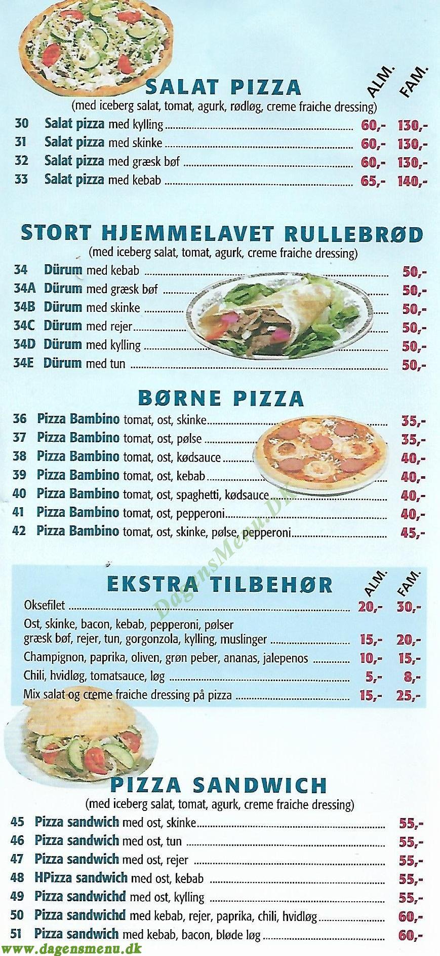 Tuse Næs Pizzabar - Menukort