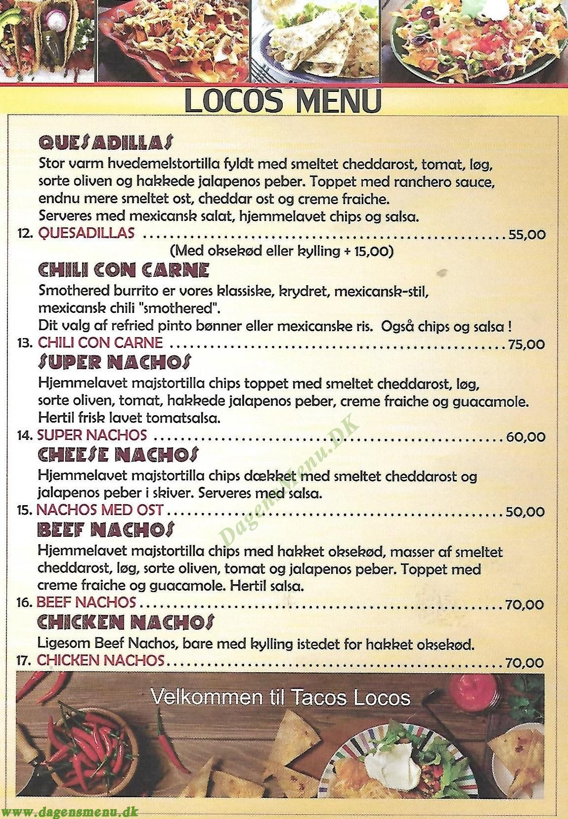 Tacos Locos - Menukort
