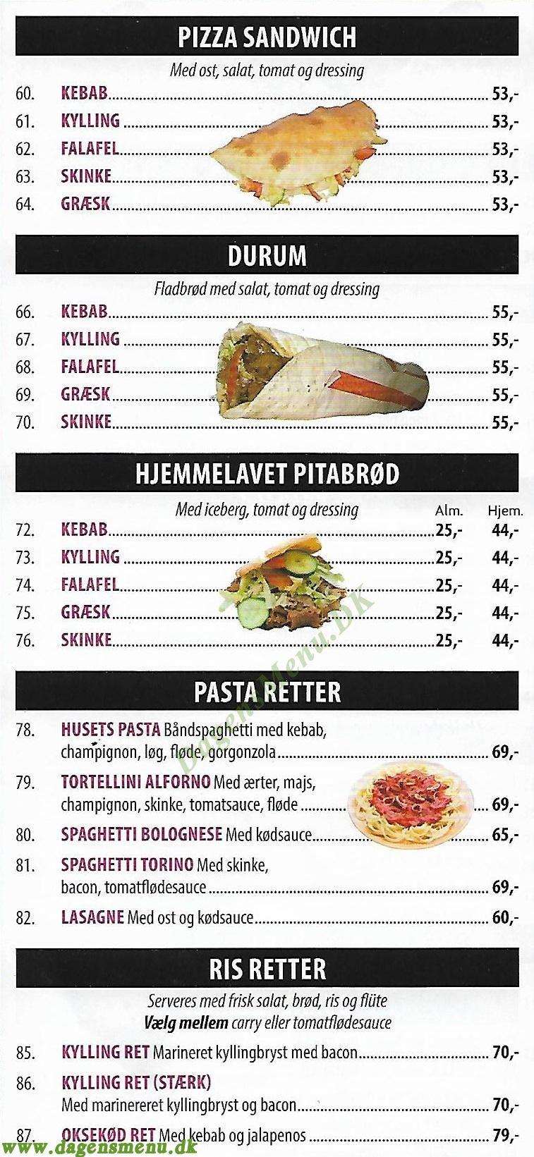 Torino - Pizza & Grill Menukort