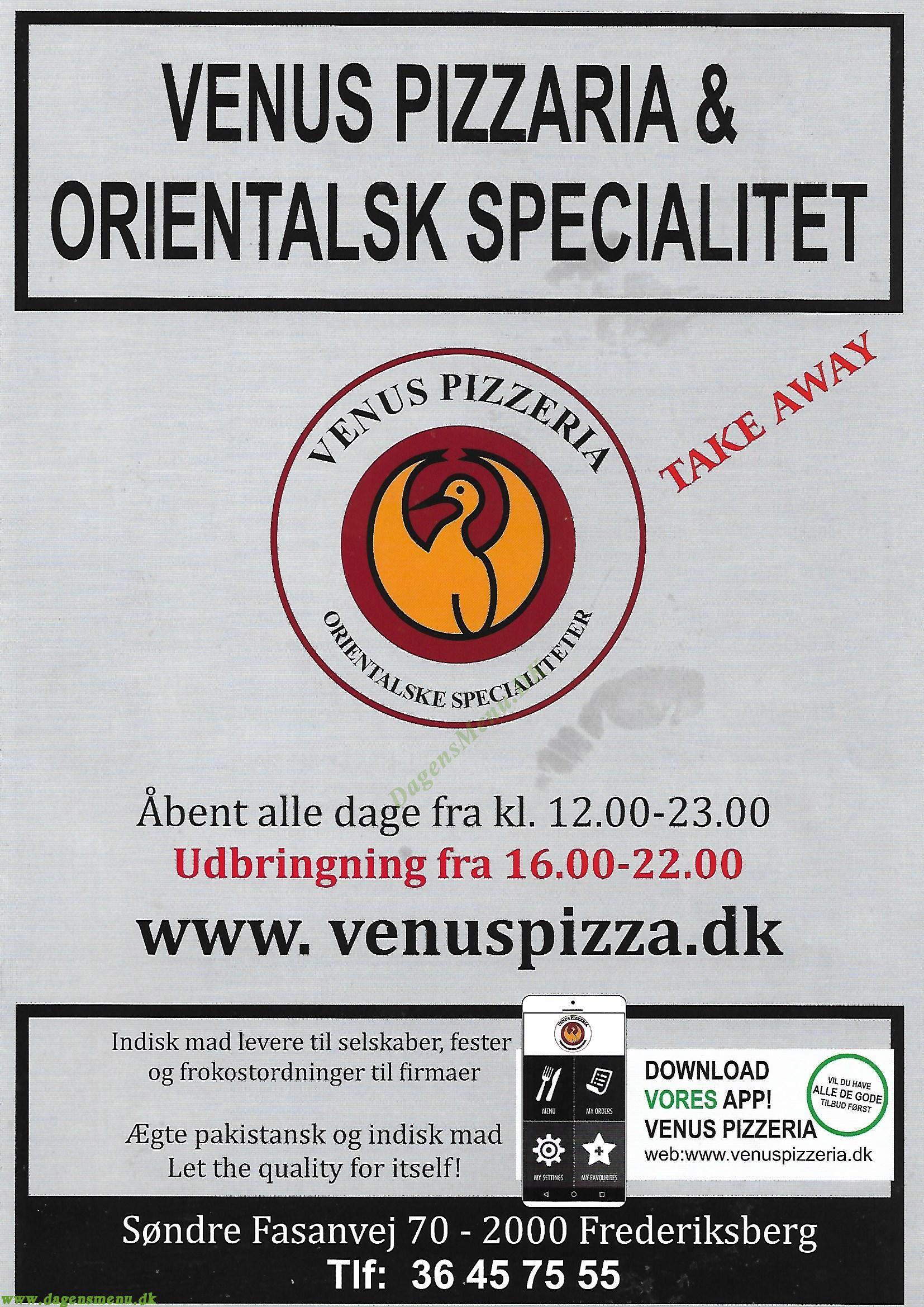 Venus Pizza - Menukort