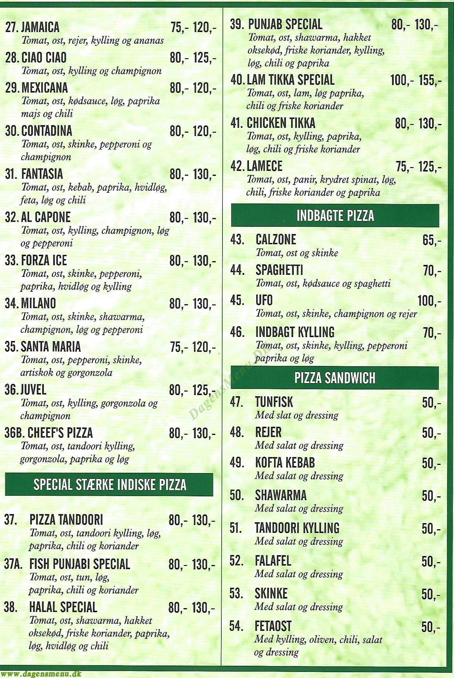 Venus Pizza & Orientalsk Specialitet - Menukort