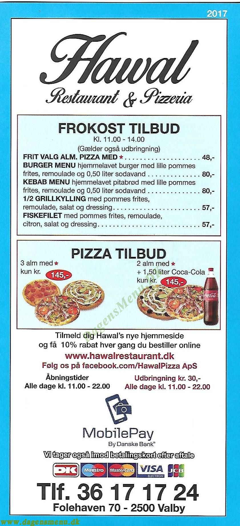 Hawal Restaurant & Pizzeria - Menukort
