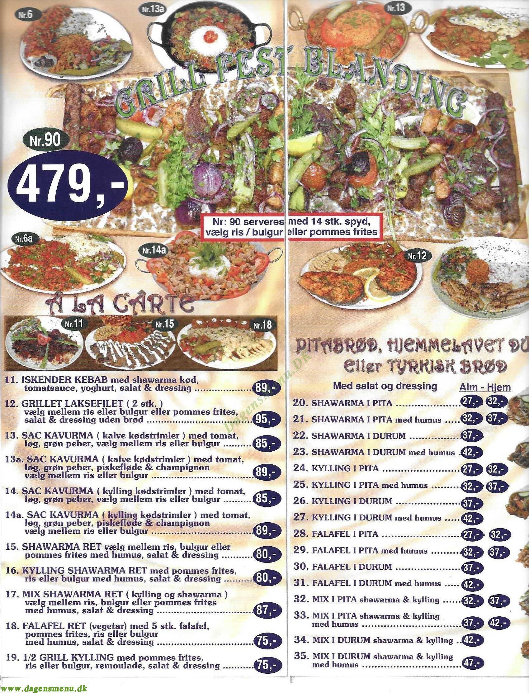 Alanya 2 Restaurant - Menukort
