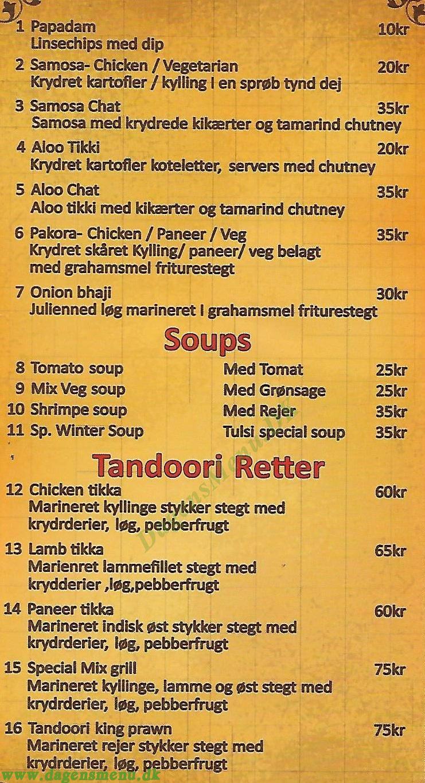 Tulsi Original Indian Cooking  - Menukort