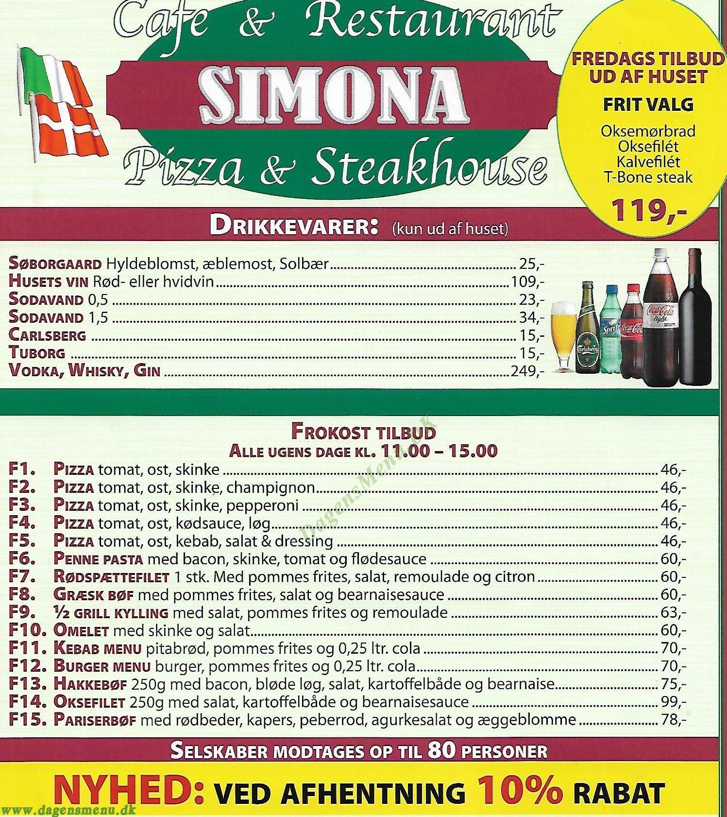 Simona Pizzeria & Restaurant - Menukort