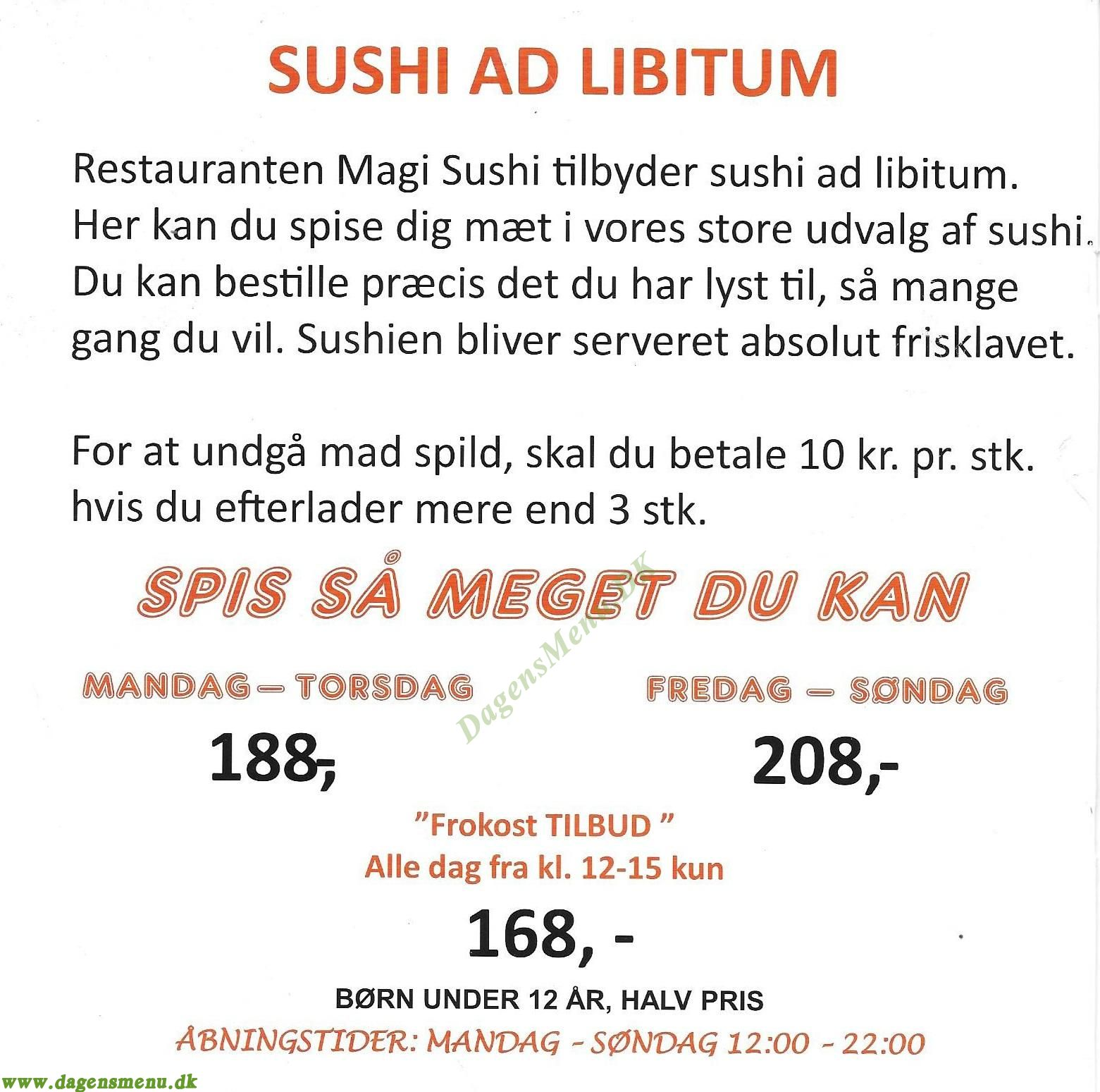 Restaurant Magi Sushi - Menukort