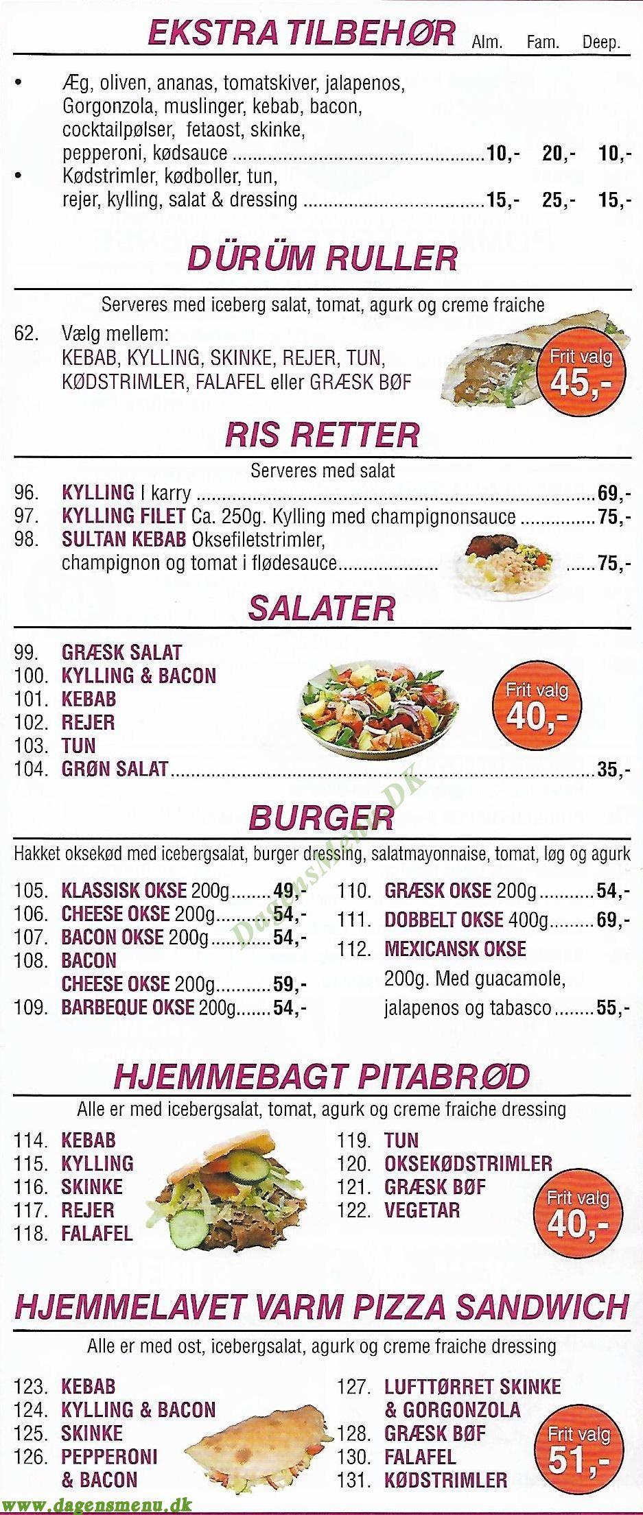 safins pizza løsning menu