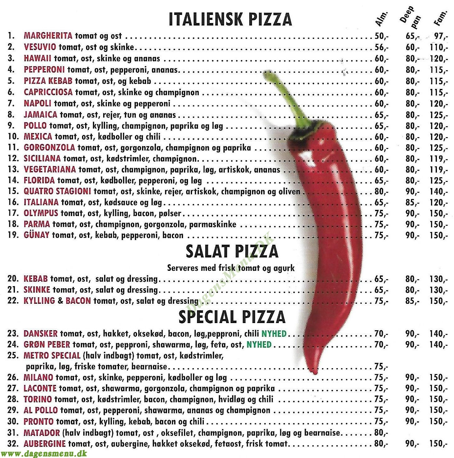 Cafe M Pizza & Grill - Menukort